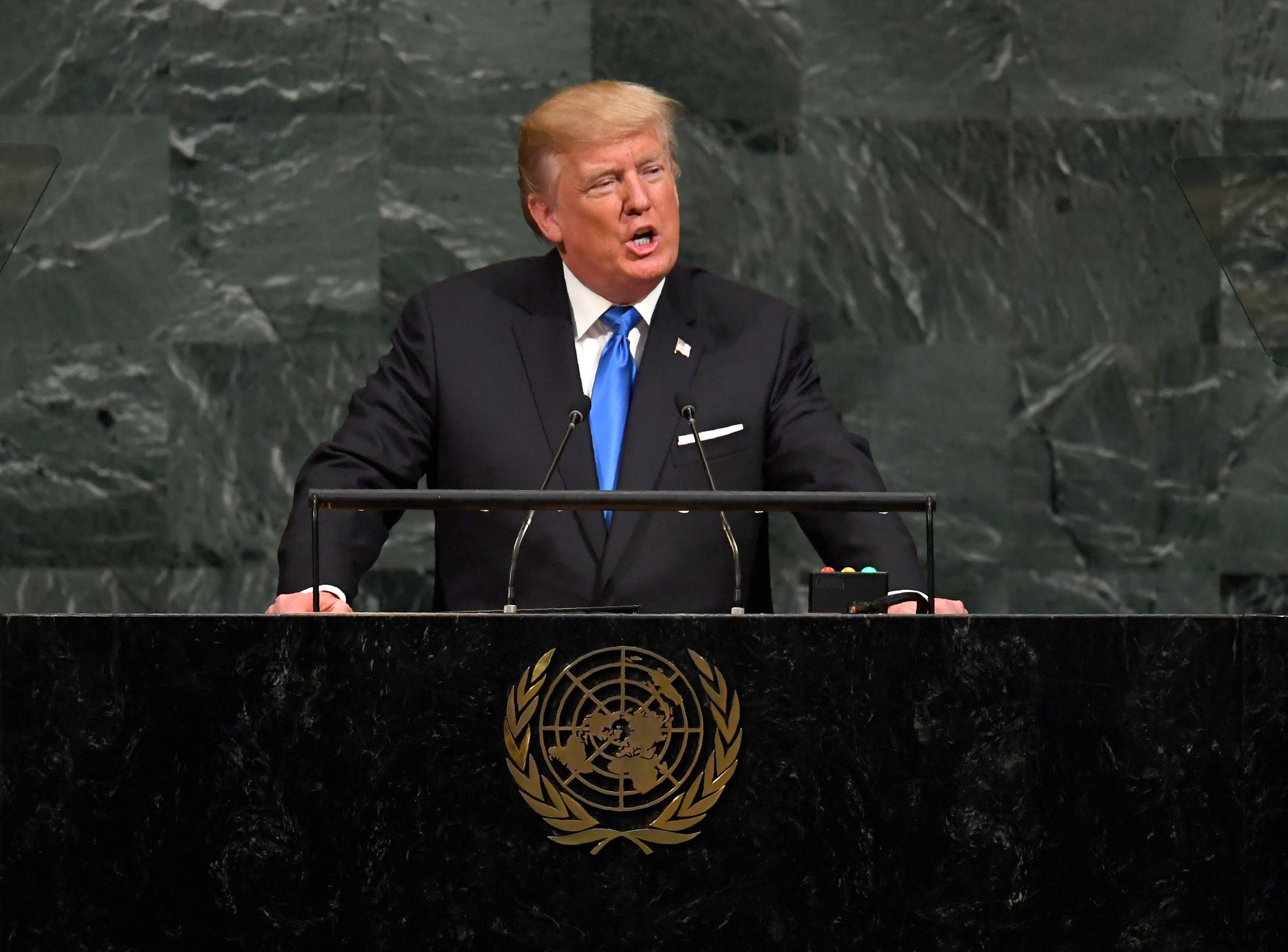 President Donald Trump addresses the 72nd Annual UN General Assembly in New York on Sept. 19, 2017. (TIMOTHY A. CLARY/AFP/Getty Images)