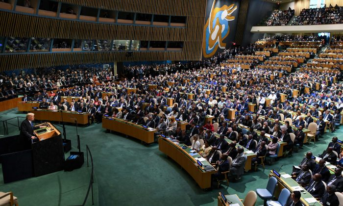 President Donald Trump addresses the 72nd Annual UN General Assembly in New York on Sept. 19, 2017. (JEWEL SAMAD/AFP/Getty Images)