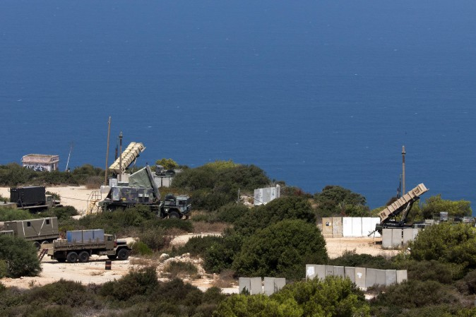 Patriot surface-to-air missile batteries are positioned in the Mediterranean coastal city of Haifa in northern Israel on Aug. 29, 2013. (JACK GUEZ/AFP/Getty Images)