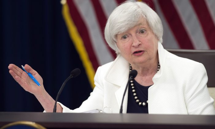 U.S. Federal Reserve Chair Janet Yellen holds a press conference in Washington, D.C. on Sept. 20, 2017. Economists say the effects of the hurricanes on the U.S. economy make it more difficult for the Fed to get an accurate reading on the state of the economy. (Saul Loeb/AFP/Getty Images)