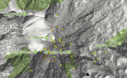 Locations of quakes in the Mt Rainier between Aug. 22 and Sept. 21, 2017. (PNSN)