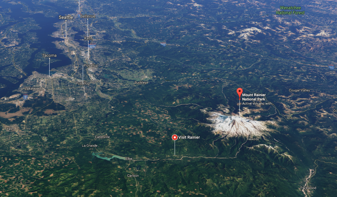 Mt. Rainier. (Screenshot via Google Maps)