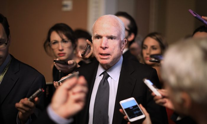 Sen. John McCain (R-Ariz.) speaks to reporters at the Capitol on July 13, 2017. (Chip Somodevilla/Getty Images)