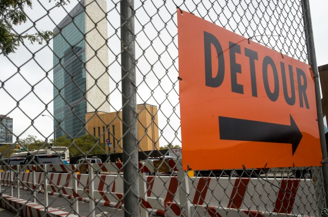 A detour sign for pedestrians and cyclists is seen on First Avenue near the United Nations in New York City on Sept. 18, 2017. (Drew Angerer/Getty Images)