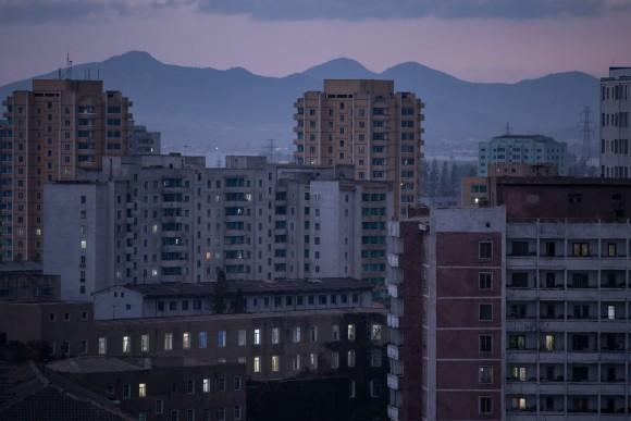 Apartment buildings in Pyongyang, North korea, on Sept. 22, 2017. (ED JONES/AFP/Getty Images)