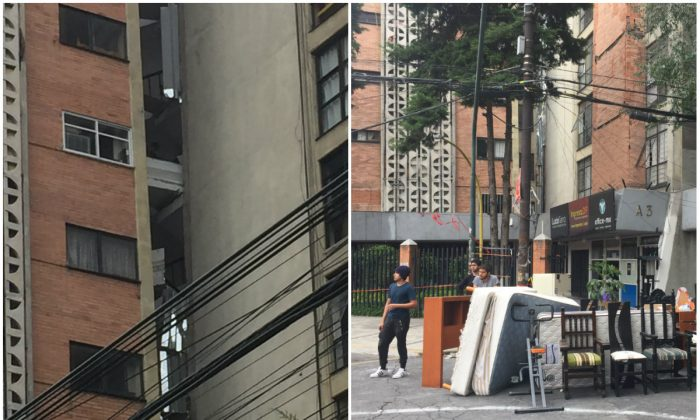 L: A crack splitting an apartment building in Mexico City on Sept. 23, 2017, after an earthquake hit the area on Sept. 19; R: People stand by the belongings retrieved from the apartment building. (Anthony Hoffman)