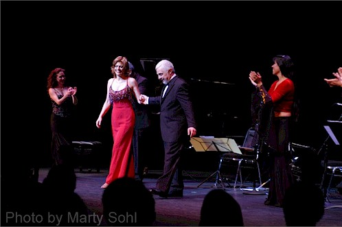 Pianist Polly Ferman and composer Daniel Binelli (both center) take a bow after an appearance together.  (Marty Sohl)