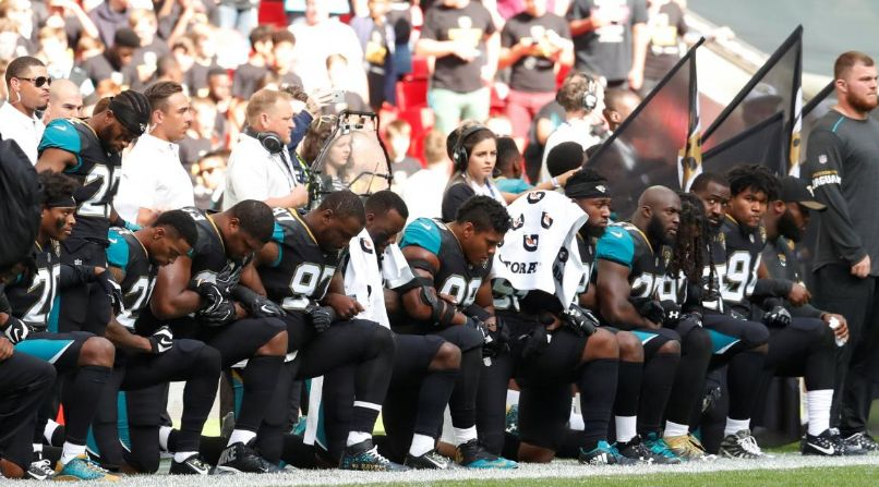 Many Jaguars players knelt during the national anthem on Sunday Sept. 24