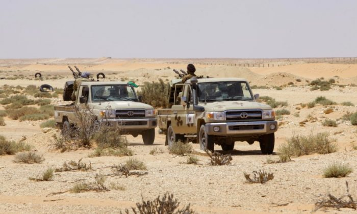 Libyan forces allied with the U.N.-backed government patrol to prevent Islamic State resurgence on the outskirts of Sirte, Libya, Aug. 4, 2017.  Reuters/Ismail Zitouny