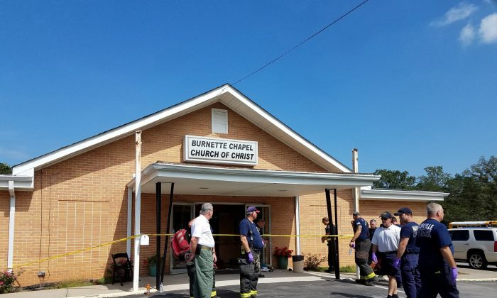 The scene where people were injured when gunfire erupted at the Burnette Chapel Church of Christ in Nashville, Tenn., on Sept. 24, 2017. (Metro Nashville Police Department/Handout via Reuters)