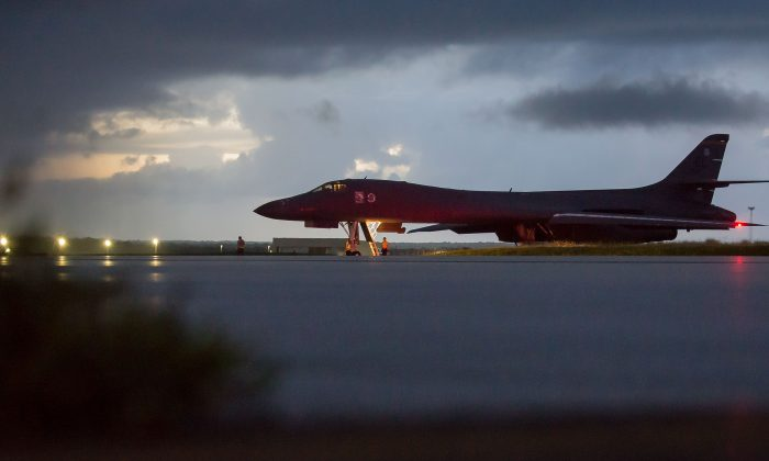 An Air Force B-1B Lancer assigned to the 37th Expeditionary Bomb Squadron prepares to take off from Andersen Air Force Base, Guam, on Sept. 23, 2017. (Staff Sgt. Joshua Smoot)