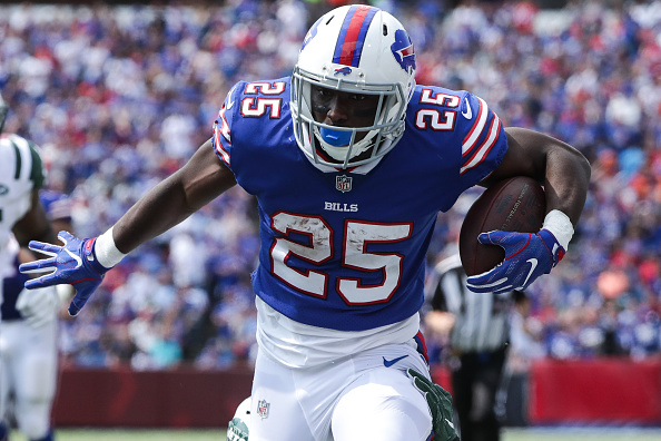 LeSean McCoy #25 of the Buffalo Bills runs the ball during the first half against the New York Jets on September 10, 2017 at New Era Field in Orchard Park, New York. (Tom Szczerbowski/Getty Images)