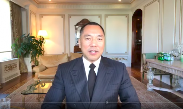 Chinese billionaire Guo Wengui dishes on top Chinese officials' wrongdoing during one of his YouTube livestream sessions. (Screenshot via YouTube/Guo Wengui)
