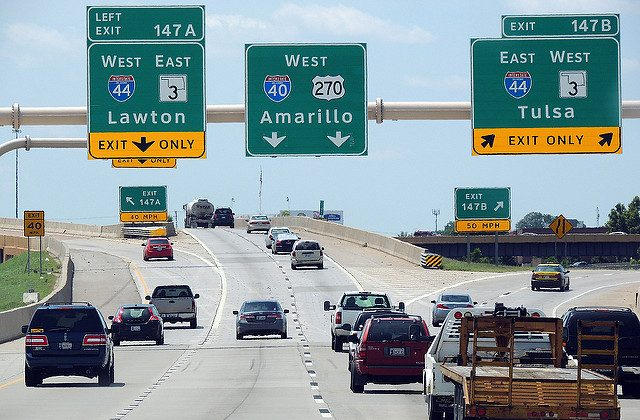 """File Photo of I-40 in Oklahoma City taken on Aug. 1, 2014. (""""I40"""" by duggar11/Flickr [CC BY 2.0 (ept.ms/2haHp2Y)])"""