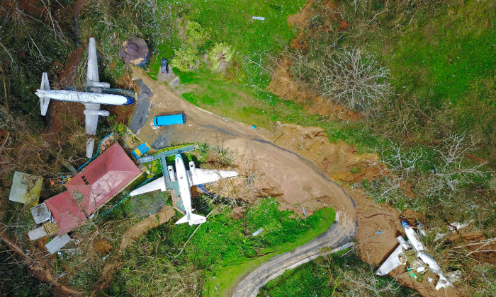 An airplane themed restaurant is seen damaged by mudslides and winds in Barranquitas, southwest of San Juan, Puerto Rico, on Sept. 24, 2017, following the passage of Hurricane Maria. (RICARDO ARDUENGO/AFP/Getty Images)