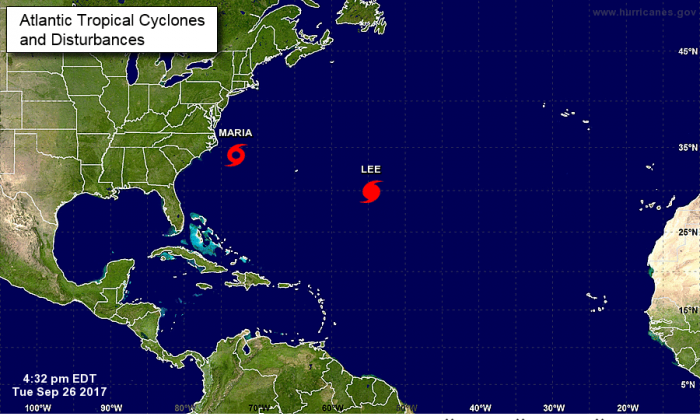 Map of Tropical Storm Maria and Hurricane Lee as of 5 p.m. on Sept. 26, 2017. (National Hurricane Center/NOAA)