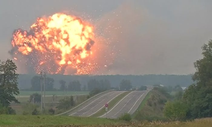 A still from video footage shows a fireball on 27 Sept 2017 at the military base near Kalynivka in the Vynnytsya region, the morning after munitions explosions began. (Reuters)