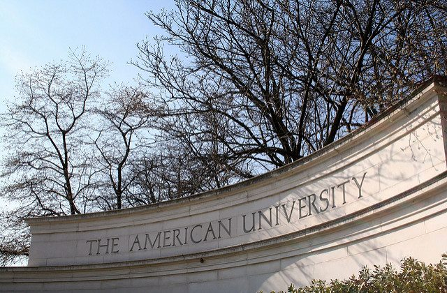 "A sign at American University. (""AU sign"" by Jake Waage/Flickr [CC BY-SA-2.0 (ept.ms/2utDIe9)])"