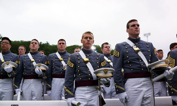 Cadets at the conclusion of the graduation ceremony at the U.S. Military Academy at West Point.  (Spencer Platt/Getty Images)