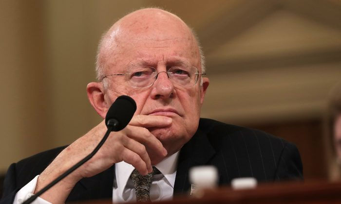 Then Director of National Intelligence James Clapper testifies during a hearing before the House Select Intelligence Committee on Nov. 17, 2016. (Alex Wong/Getty Images)