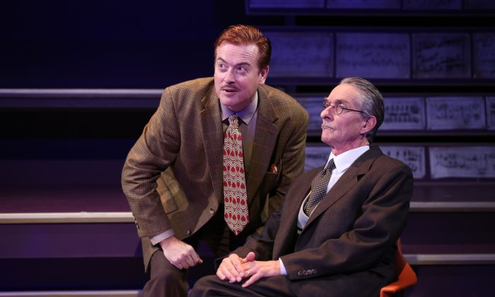 "(L–R) Mark Shanahan and Stephen D'Ambrose in ""Small World."" (Carol Rosegg)"