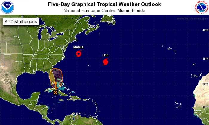 A weather pattern south of Cuba is being monitored as a potential tropical storm. (National Hurricane Center/NOAA)