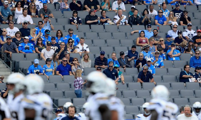 The audience during the first half of a game between the Los Angeles Chargers and the Miami Dolphins at StubHub Center in Carson, Calif., on Sept. 17, 2017. (Sean M. Haffey/Getty Images)