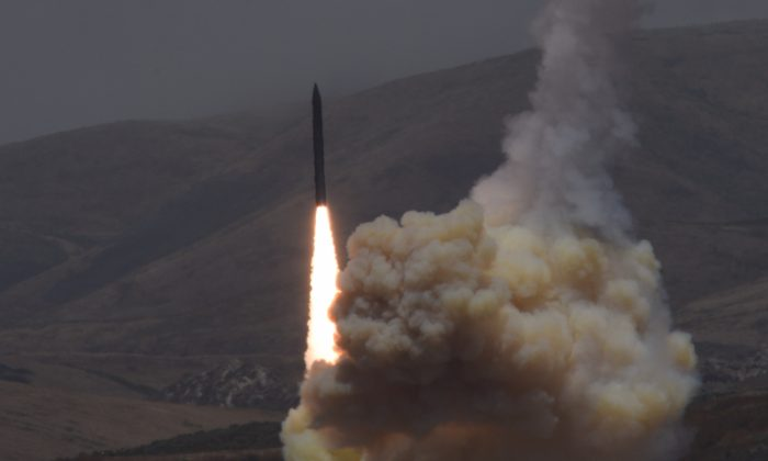 A long-range ground-based interceptor is launched from Vandenberg Air Force Base, Calif., on May 30, 2017. (U.S. Department of Defense)