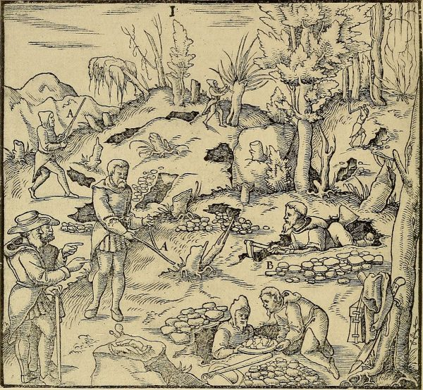 """A depiction of dowsers from Agricola's """"De re metallica,"""" 1580."""