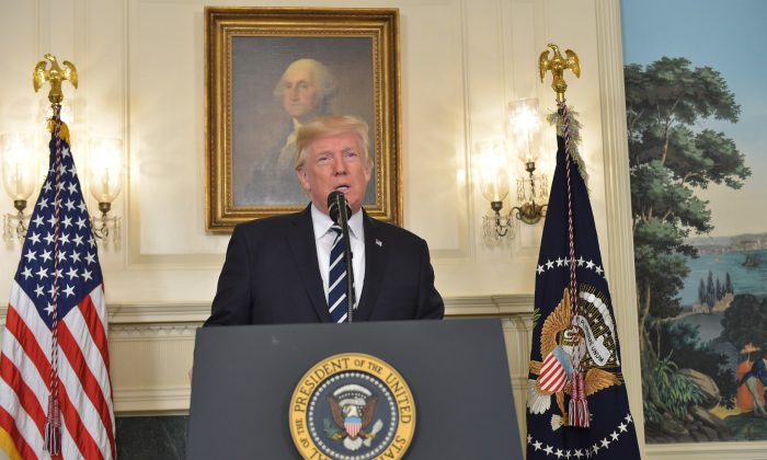President Donald Trump delivers a statement on the Las Vegas mass shooting from the Diplomatic Reception Room of the White House on Oct. 2, 2017. (MANDEL NGAN/AFP/Getty Images)