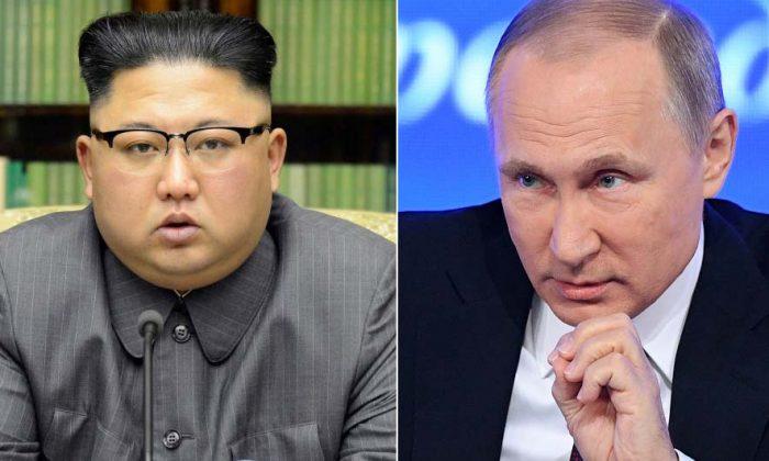 This combined photo shows North Korean leader Kim Jong-un (L) (KCNA via REUTERS)  and Russia President Putin (NATALIA KOLESNIKOVA/AFP/Getty Images)