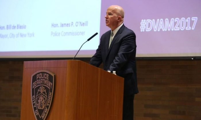 NYPD Chief James O'Neill at a conference on domestic violence in New York on Oct. 2, 2017. (NYPD)