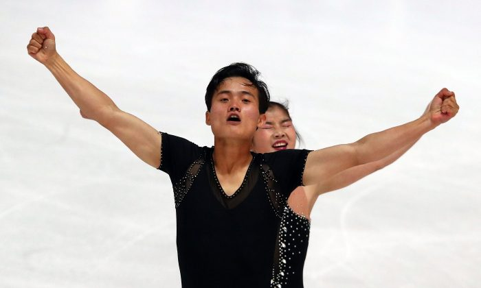Figure Skating - Olympic Qualifying ISU Challenger Series - Pairs Free Skating - Oberstdorf, Germany - September 29, 2017 - Ryom Tae-Ok and Kim Ju-Sik of North Korea compete. REUTERS/Michael Dalder