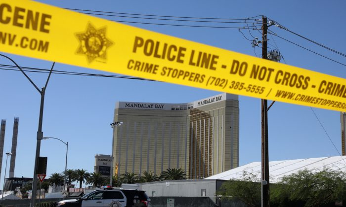 The site of the Route 91 music festival mass shooting is seen outside the Mandalay Bay Resort and Casino in Las Vegas, Nevada, on Oct. 2, 2017. (REUTERS/Lucy Nicholson)
