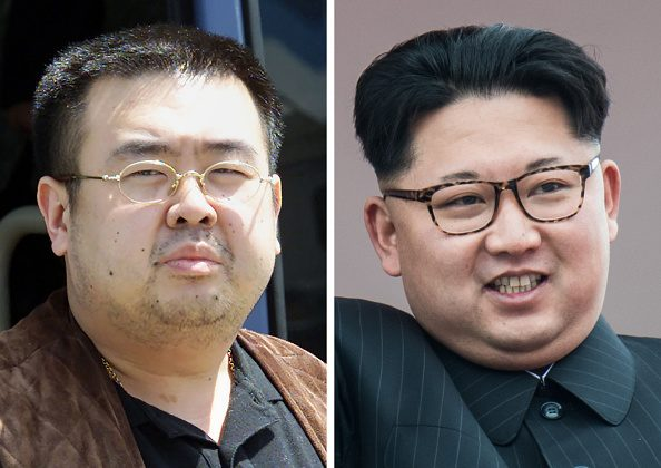 This combo shows a file photo (L) taken on May 4, 2001 of Kim Jong Nam, son of the late-North Korean leader Kim Jong Il, and a file photo (R) of his half-brother, current North Korean leader Kim Jon Un in Pyongyang on May 10, 2016. (TOSHIFUMI KITAMURA,ED JONES/AFP/Getty Images)