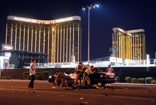 Las Vegas police stand guard along the streets outside the Route 91 Harvest Country music festival grounds on Oct. 1, 2017 in Las Vegas. (David Becker/Getty Images)
