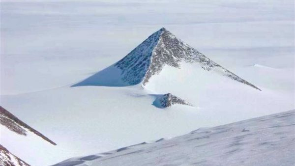 A pyramid-shaped mountain in the Ellsworth Mountain range of Antarctica. (Google Earth)