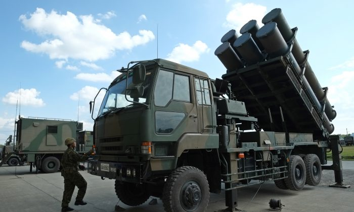 A Japanese truck-mounted missile defense system at Camp Kita-Eniwa in Japan on Sept. 8, 2017. (KAZUHIRO NOGI/AFP/Getty Images)