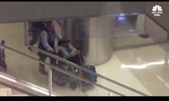Footage obtained by NBC purportedly showing Marilou Danley, the 62-year-old girlfriend of Las Vegas shooter Stephen Paddock, upon her arrival at the Los Angeles airport on Oct. 3, 2017. (Screenshot via NBC)