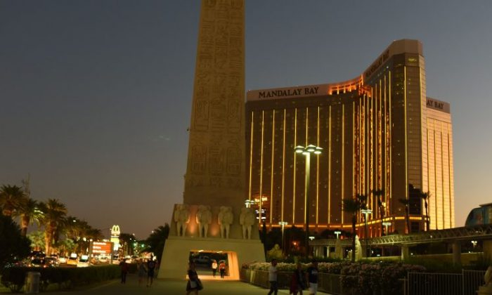 The Mandalay Bay Hotel and Casino, that Stephen Paddock fired from, is seen in the evening in Las Vegas on Oct. 4, 2017.  (Robyn Beck/AFP/Getty Images)