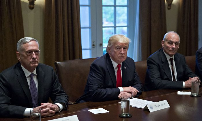 President Donald Trump during a meeting with senior military leaders at the White House on Oct. 5, 2017. (Andrew Harrer-Pool/Getty Images)