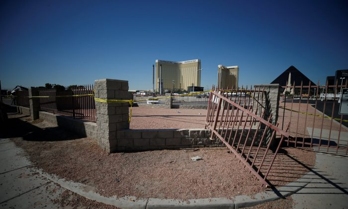 A broken fence is pictured leading from the parking lot near the site of the Route 91 music festival mass shooting in Las Vegas, Nevada, U.S., October 5, 2017. (Reuters/Chris Wattie)