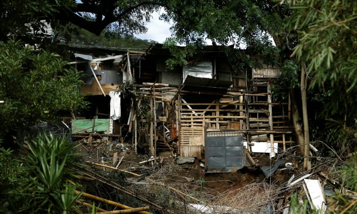 Houses damaged by a mudslide is seen after that the Storm Nate affected the country in outskirts of San Jose, Costa Rica October 6, 2017. (Reuters/Juan Carlos Ulate)