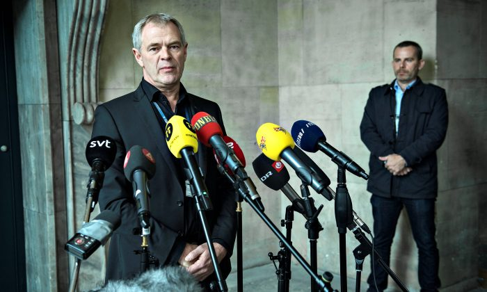 Copenhagen Police Chief Investigator Jens Moeller gives a news conference in Copenhagen, Denmark October 7, 2017. (Scanpix Denmark/Jens Noergaard Larsen/via Reuters)
