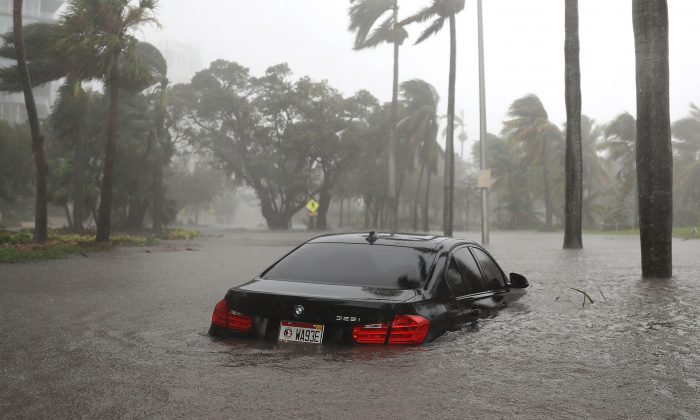A car is submerged in a flooded street following Hurricane Irma  Miami on Sept. 10, 2017. (Joe Raedle/Getty Images)
