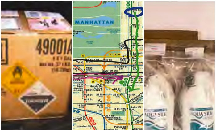 L, R: A shipment of hydrogen peroxide allegedly intended for production of improvised explosives; C: A map of the New York City Subway with marks allegedly illustrating a bombing plot. (The U.S. Department of Justice)