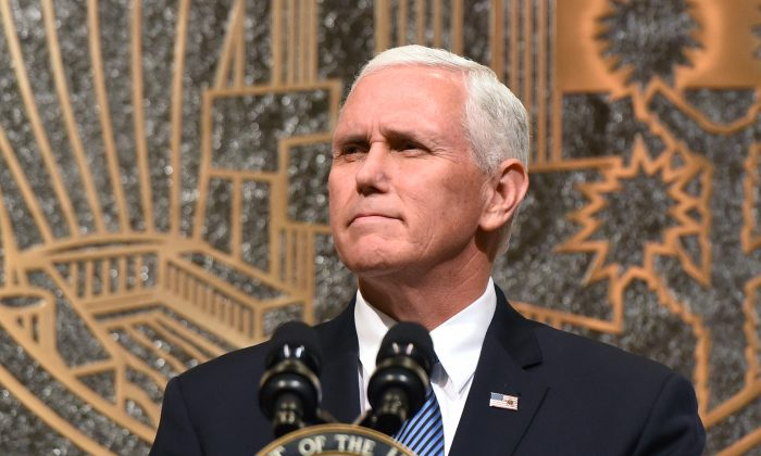 Vice President Mike Pence speaks in Las Vegas, Nevada, after a mass shooting, on Oct. 7, 2017.  On Oct. 8, Pence walked out of an NFL game when some players refused to stand for the national anthem.  (Ethan Miller/Getty Images)