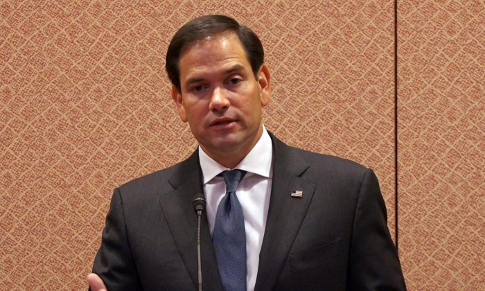 Chairman of the Congressional-Executive Commission on China, Sen. Marco Rubio, speaking at the release of the Commission's annual report in Washington on Oct. 5, 2017. (Wei Wu/NTD)