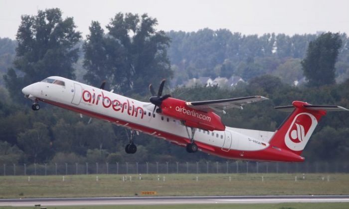 A Bombardier Dash 8 Q400 aircraft of German carrier AirBerlin takes off towards Stuttgart, Germany, from Duesseldorf airport, Germany on Sept. 12, 2017. (Reuters/Wolfgang Rattay)