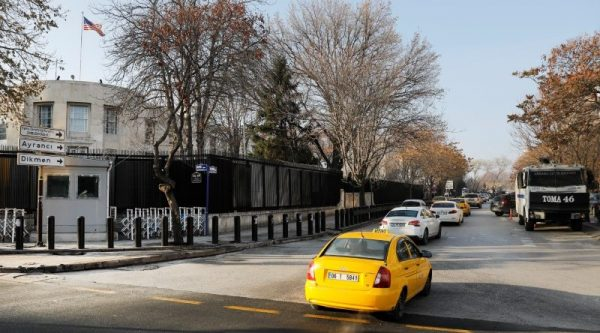 An armoured Turkish police vehicle is parked near the U.S. Embassy in Ankara, Turkey on Dec. 20, 2016. (Reuters/Umit Bektas)